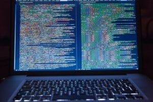 Laptop screen full of code