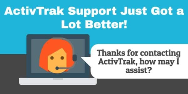 """""""ActivTrak support just got a lot better!"""" on a blue background, over a laptop with a lady wearing a headset."""