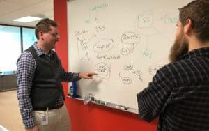 Nathaniel Armer discusses ActivTrak backend progress with Heath Hughes.