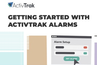 Getting started with ActivTrak alarms below the ActivTrak logo, and below are papers and charts.