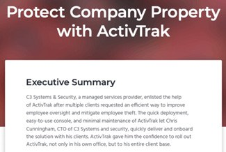 Text: Protect Company Property with ActivTrak above an executive summary of the article.