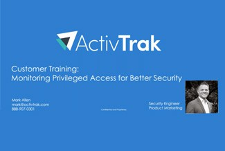 ActivTrak logo at the top, a black and white picture of Mark Allen on the right and the title Customer Training…