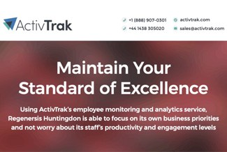 ActivTrak web page that says Maintain your standard of excellence, with contact information in the header.