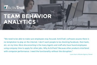 The ActivTrak logo and title, Team Behavior Analytics, over a background photo of a woman working at a computer.