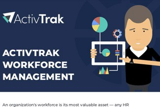 A man pointing to his tablet with charts on it, next to the words ActivTrak workforce management.