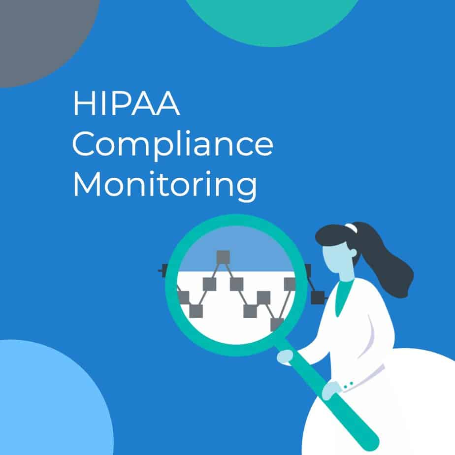 A woman holding a magnifying glass over a graph next to the text: HIPAA Compliance Monitoring.