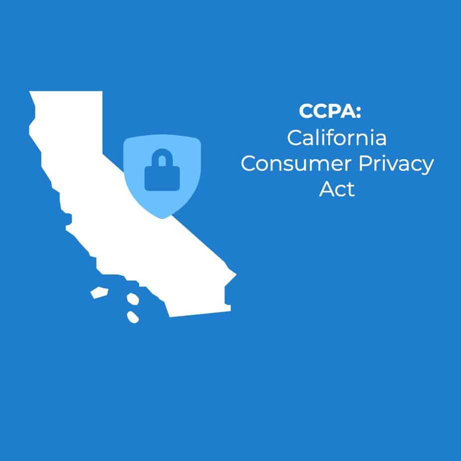 CCPA California Consumer Protection Act, on a blue background next to the shape of California in white and a lock.
