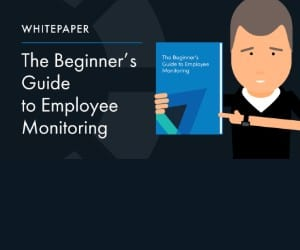 A man holding and pointing to a paper, next to text: Whitepaper The Beginner's Guide to Employee Monitoring.