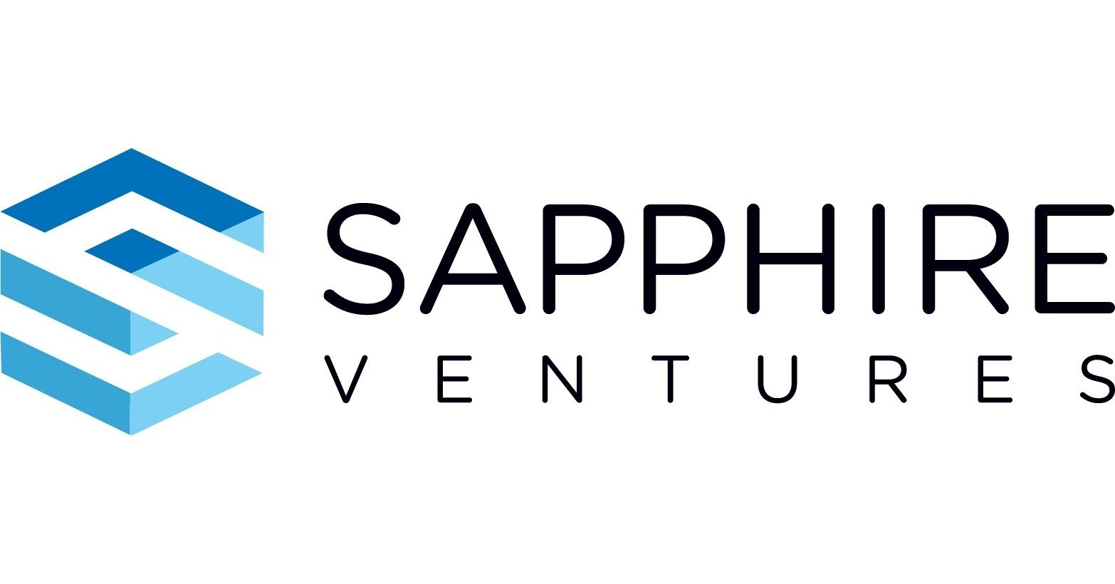 The words Sapphire Ventures and their logo which is a stylized, white S among blue shapes so that it looks like a cube.